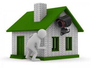 home surveillance camera on wall