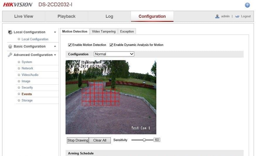Settings motion detection