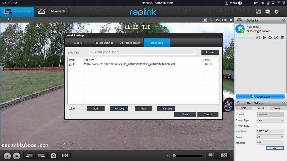 how to save recorded files from reolink software